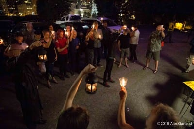 Around 30 people attended an anti-violence vigil Saturday night (Image: CHS)
