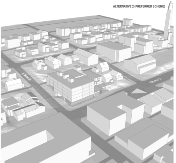 """The """"preferred"""" design scheme for a new five-story building proposed at 19th and Mercer"""