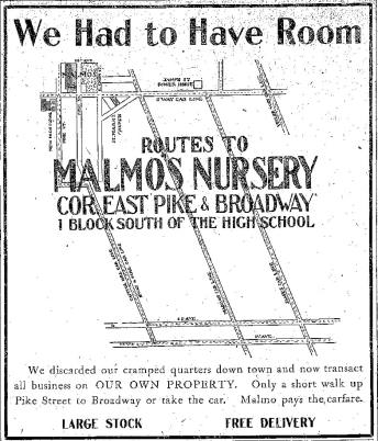 Routes to Malmo's Nursery.  October, 1903. Seattle Times.