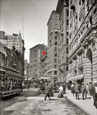 The red arrow points to the estimated location of the New England Real Estate Agency.  Circa 1906. Image: Shorpy