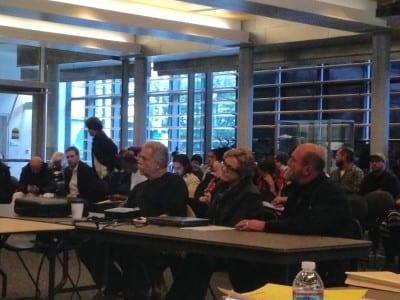 Bennett (left) at Wednesday's landmarks board meeting. (Image: CHS)