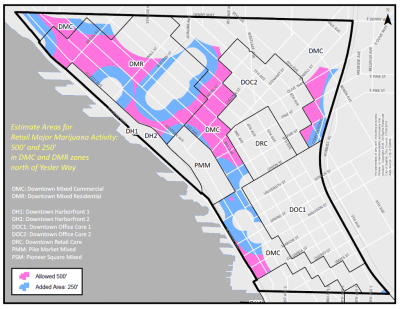The newly approved downtown pot producer and processor zones