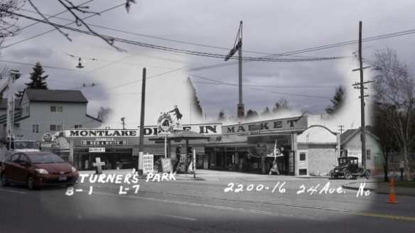 Montlake Drive-in market 1937 and 2016