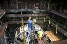 One of the TBM being removed from the work pit near the Downtown Transit Tunnel (Image: Sound Transit)