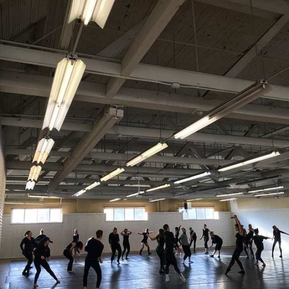 Resident Kate Wallich holds a rehearsal for Industrial Ballet inside V2. (Image: Kate Wallich via Instagram)