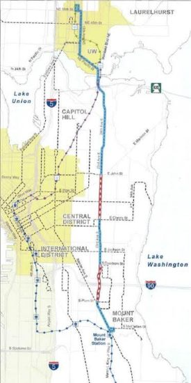 Red sections indicate where overhead wires will go up. (Image: SDOT)