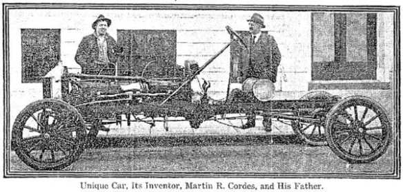 1918-04-28 Seattle Times - Photo of Martin Cordes Jr and Sr and 8 Cylinder ford.