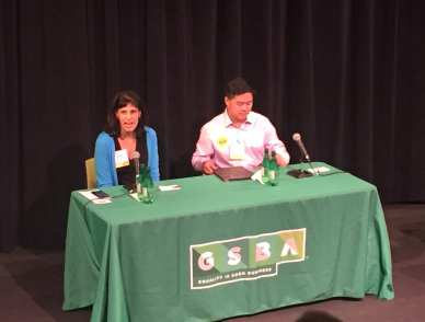 Nicole Macri and Dan Shih at Wednesday's forum. (Image: CHS)