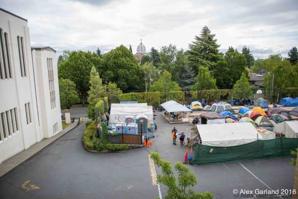 Dozens of homeless campers at Tent City 3's temporary stay on Capitol Hill (Image: CHS)