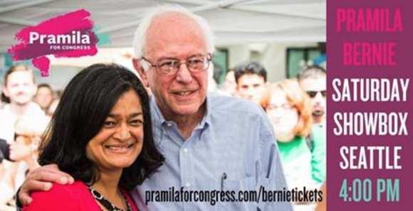 Bernie Sanders was in town Saturday to raise bucks for Jayapal