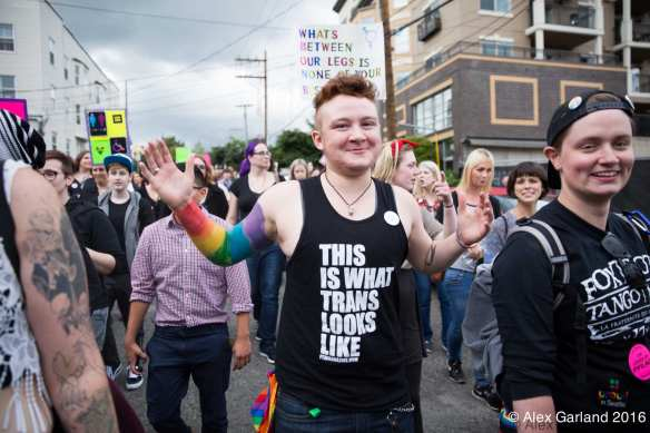 A marcher at 2016 Trans* Pride (Image: CHS)