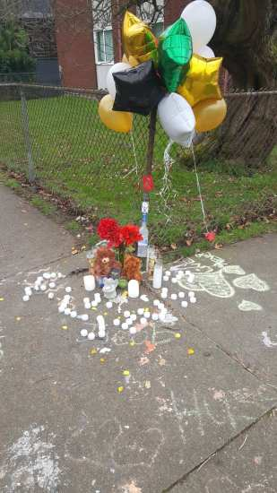 Thanks to a CHS reader for this image of a memorial to the victim left at 13th and Olive
