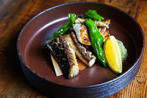 Mackerel, crispy skin, agedashi shishito, grated daikon with shiso, lime