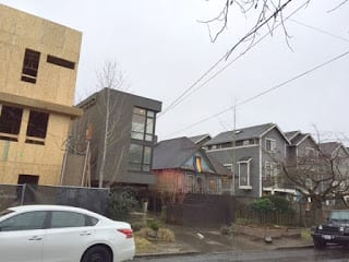 "An example of an ""ugly"" development next to single family-style homes from the Miller Park Neighbors group"