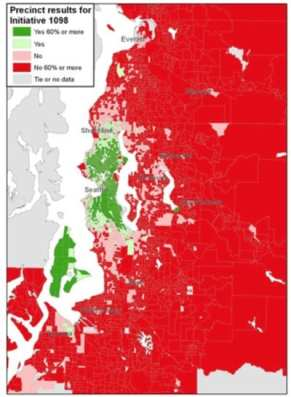 This map from the Seattle Times shows Seattle as one of the few areas in the state to support a Washington income tax in 2010