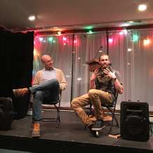 Willie Fitzgerald interviews Nic Low, of the Ngāi Tahu tribe in New Zealand, as part of the Seattle City of Literature's Indigenous Writers Exchange during this year's Lit Crawl. (Image: Seattle City of Literature)