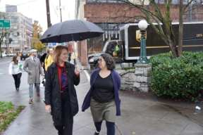 Mayor Durkan walks with Tracy Taylor of Elliott Bay