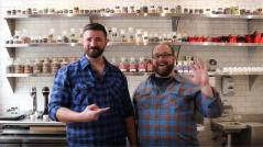 Aaron Barthel, right, and Karl Mueller of Intrigue Chocolate Co.