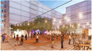 A rendering of the planned mostly public plaza (Image: Weinstein A+U)