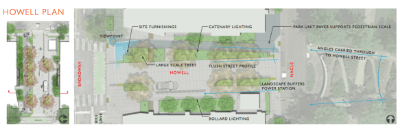 Howell will remain a public street but the developers hope to extend landscaping inspired by the park along its edges