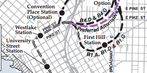 """From Sound Transit's """"Background Information for Section 4.10, Geology and Soils"""" appendix before First Hill Station was cut from U-Link planning"""
