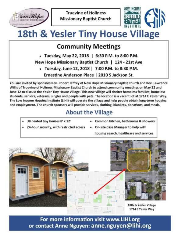 18th and Yesler Tiny House Village Community Meeting @ New Hope Missionary Baptist Church