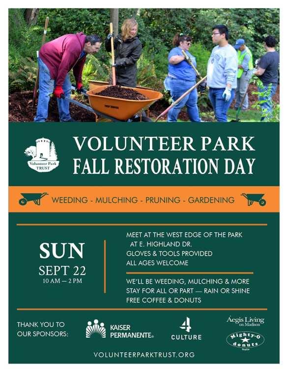 Fall Restoration Day in Volunteer Park @ Volunteer Park