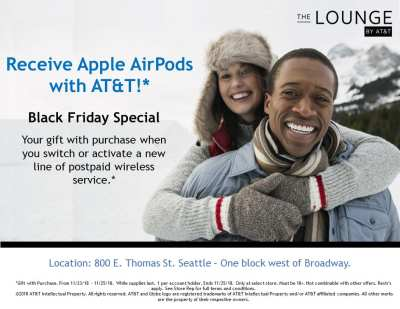 Black Friday Weekend: Free AirPods* & Half-Off Coffee @ The Lounge By AT&T