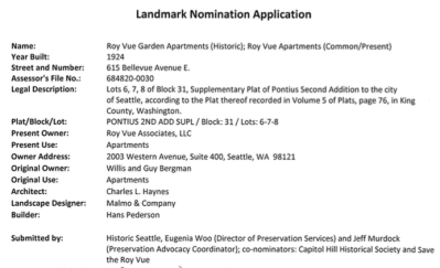 """Landmarks Preservation Board: Landmark Nomination for the Roy Vue Apartments @ Seattle City Hall, Floor L2, Room L2-80 """"Boards & Commissions""""."""