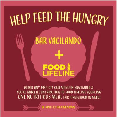 Help Feed the Hungry with Bar Vacilando @ Bar Vacilando