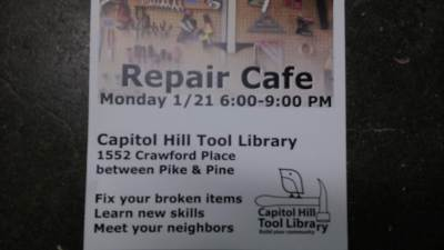 Repair Cafe @ Capitol Hill Tool Library