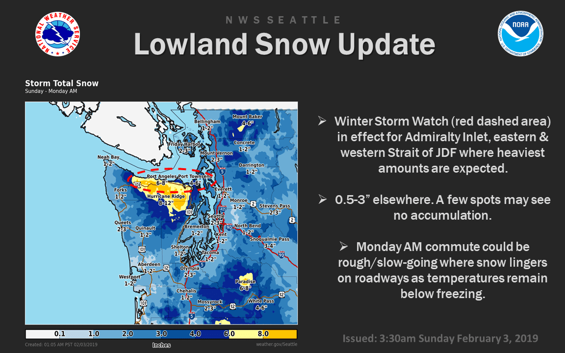 Showery Nature Snow Forecast For Seattle Area Update Snow Day