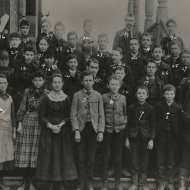 Jennie Lombard's class at South School in 1889. She's on the top right, #30 (Seattle Public Library spl_shp_22740)