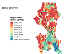 Like hate crimes, hate graffiti is reported along busy thoroughfares and in highly racially diverse block-groups