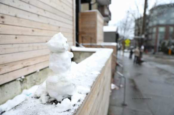 A tiny snowperson on Capitol Hill