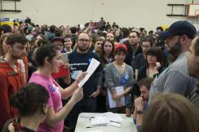 The 2016 caucus crowds in Miller Community Center
