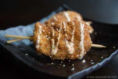 Fried chicken skewers - panko fried, aonori, teriyaki, chili aioli