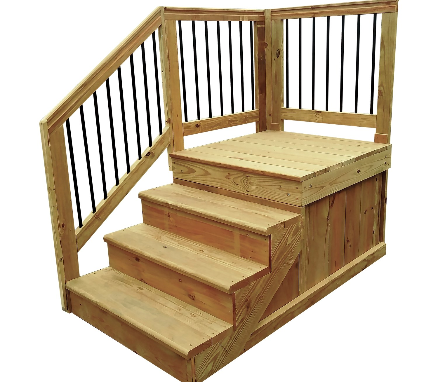 Wood Step 48 X 40 X 40 | Wooden Stairs For Mobile Home | Pre Built | Prefabricated | Simple | Wood Camper | Patio