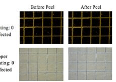 Tape peel test on silicon and copper substrates after 96 hours of PTC