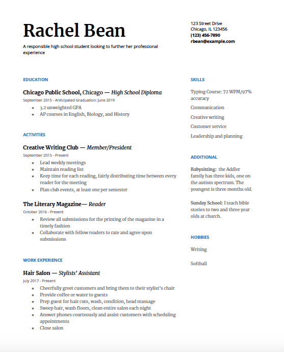 High School Resume A Step By Guide