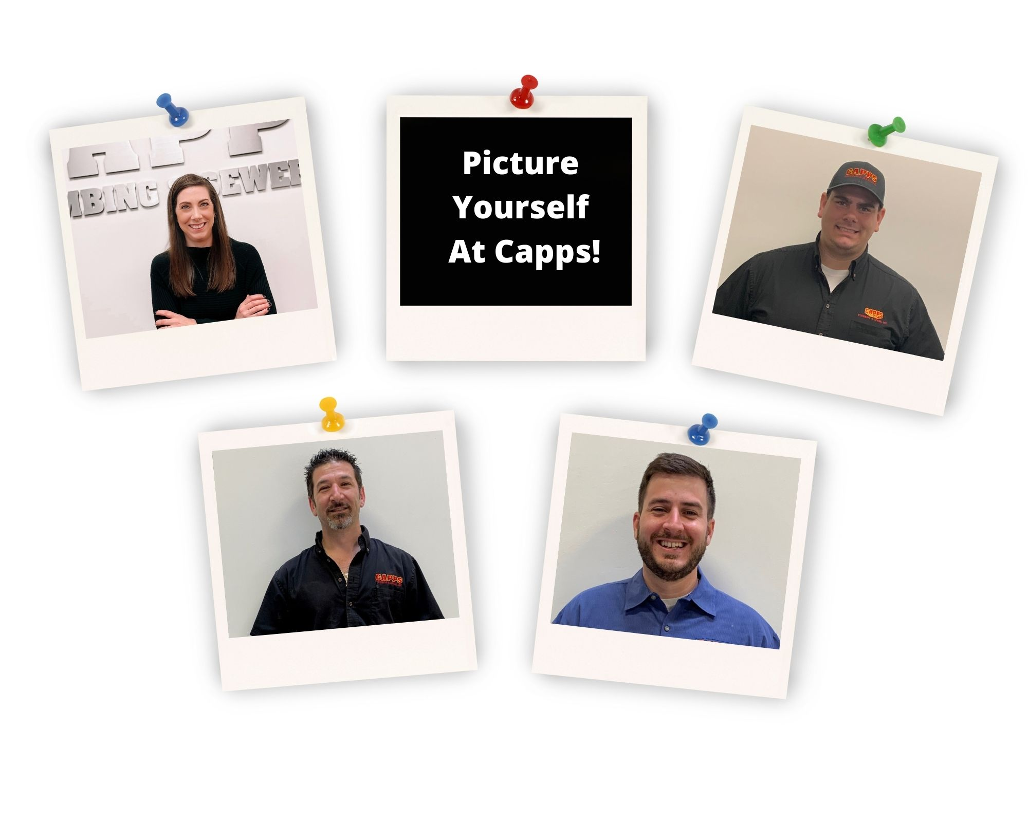Capps Staff Polaroid Photos One says picure yourself at capps.