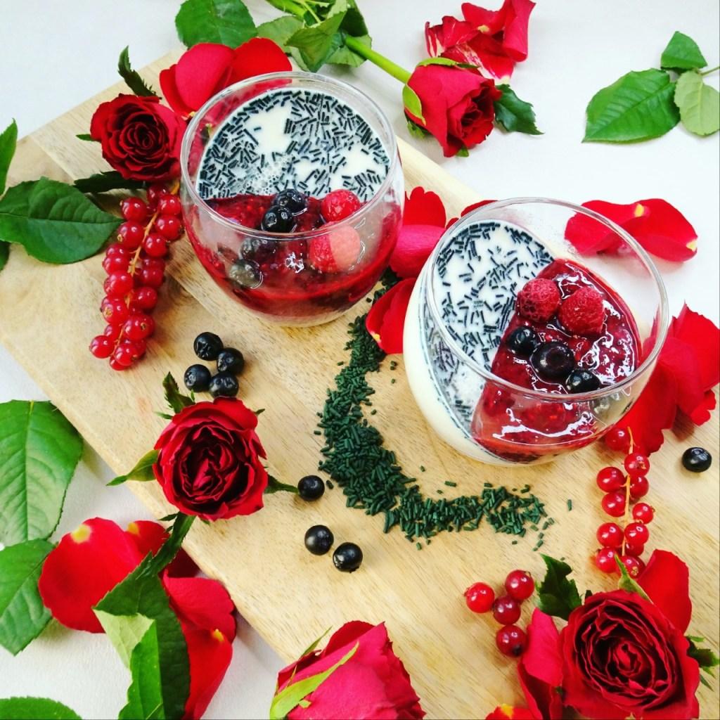 recette Panna cotta spiruline et fruits rouges