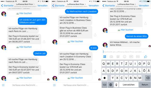 Flugpreise Mildred Chatbot