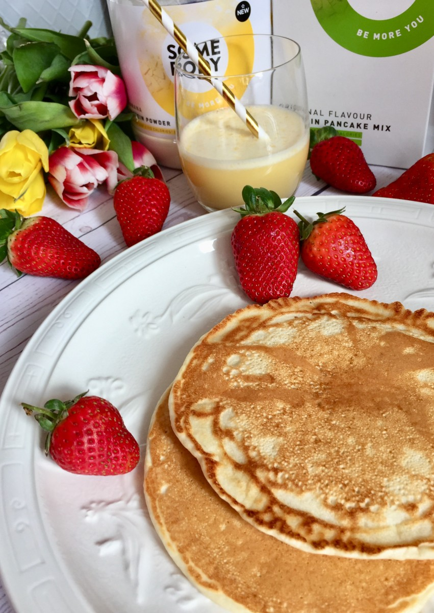 Somebody protein pancakes and shake