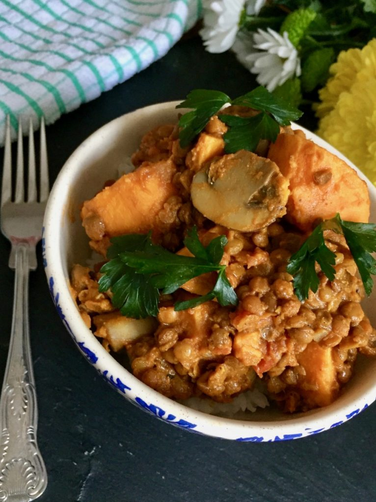 Curried sweet potato and brown lentils
