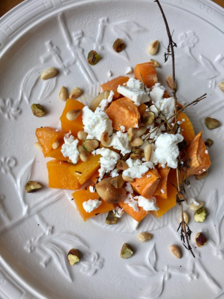Roasted sweet potato and butternut squash with feta cheese