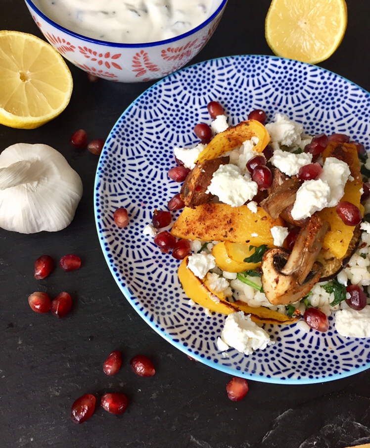 Pearl Barley with Harissa Spiced Roasted Vegetables and Feta Cheese