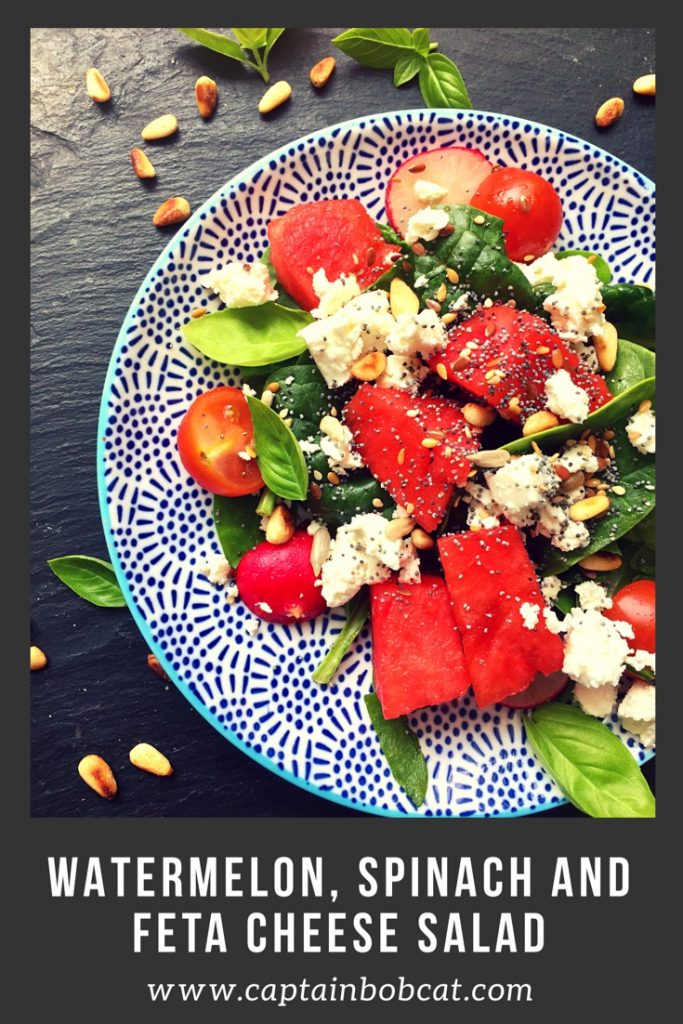 Watermelon, Spinach and Feta Cheese Salad with Basil Recipe- The Flavours of The Summer!