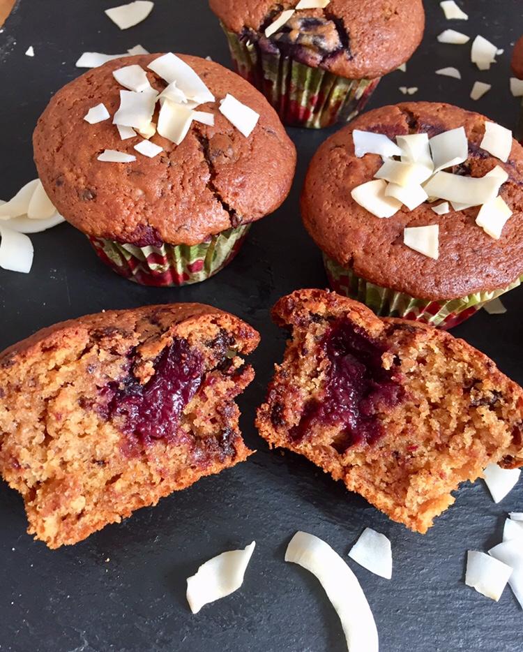 chocolate chip black cherry muffins
