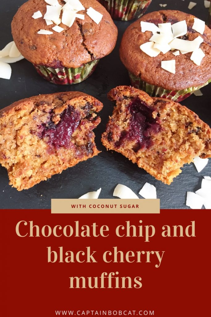 chocolate chip and black cherry muffins